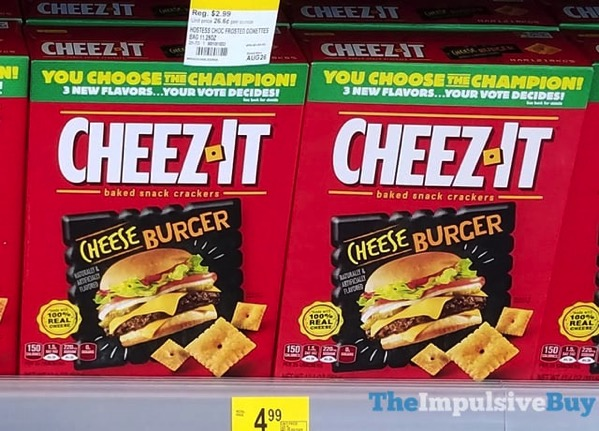 SPOTTED ON SHELVES: Cheeseburger, Cheese Pizza, and Cheddar Nachos Cheez-It Crackers - The Impulsive Buy